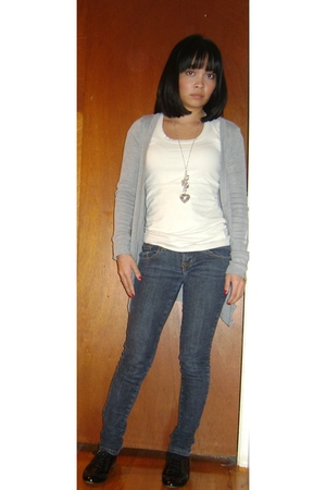 gray planet gold cardigan - blue J jeans - black Steve Madden shoes - silver For