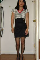 black H&M skirt - black Jessica Simpson stockings - white H&M t-shirt - red sear