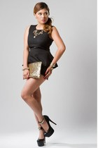 black shorts - gold bag - black black peplum top - gold necklace