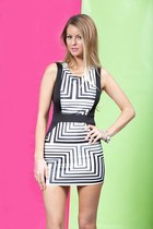 Illusion Black & White Body-Con Dress