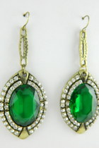 Large Green drop earrings