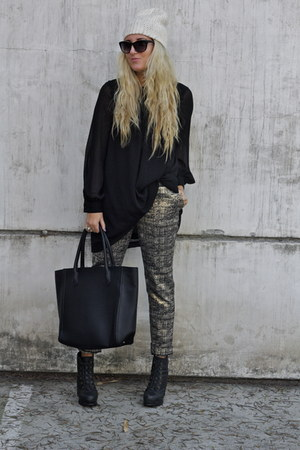 light brown metallic Forever21 pants - black H&M dress - black H&M bag