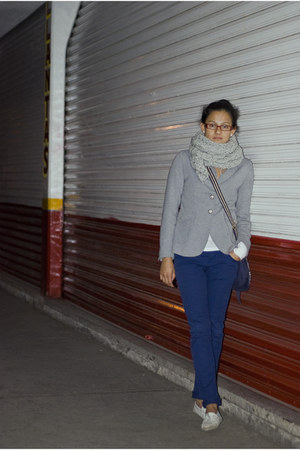 heather gray blazer - silver DIY scarf - navy pants