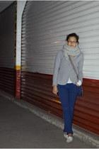 heather gray blazer - silver DIY scarf - navy pants