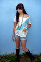 beige truly madly deeply sweater - blue abercrombie and fitch shorts - brown Ral