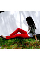 red merona jeans - white top - gray Forever 21 top - gold merona shoes