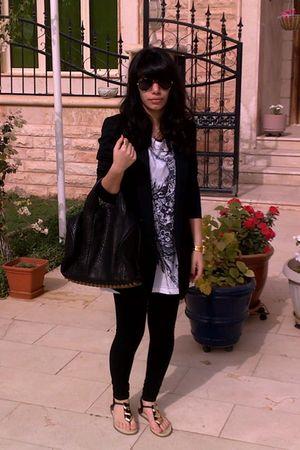 black Helmut Lang blazer - black Zara leggings - black Diane Von Furstenberg sho