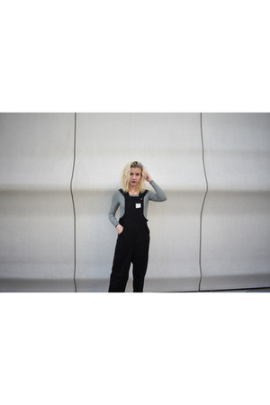 white striped Old Navy shirt - black overalls Urban Outfitters jumper