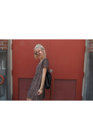 brown leopard print American Apparel dress - black backpack zaful bag