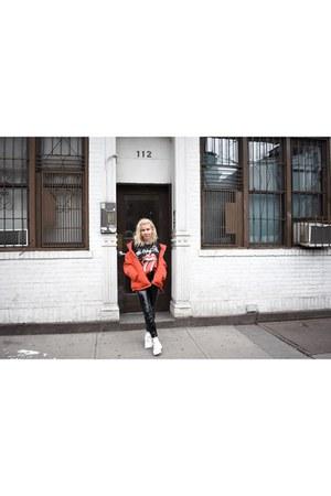 black vinyl asos pants - red puffy jacket H&M jacket