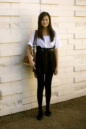 white Built by Wendy blouse - black Zara skirt - gold FCUK accessories - black B