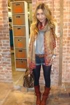 blazer - scarf - American Apparel - joe jeans - Target - Chloe boots