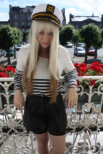 white bardot shirt - white vintage hat - black leather lucky 13 shorts