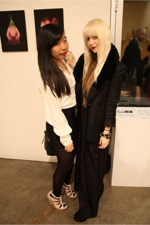black silk Zimmerman dress - black wedges Topshop shoes - black Witchery blazer