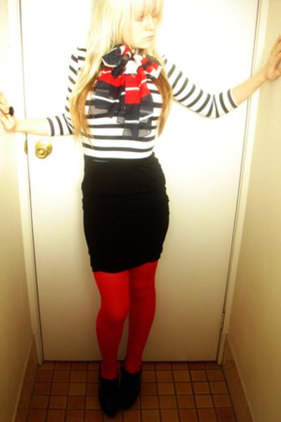 black zu shoes - stripe shirt supre - black supre skirt - silk scarf vintage