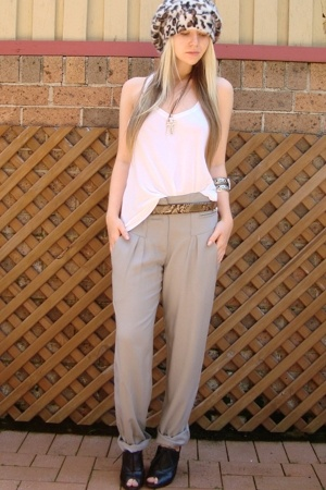 supre shirt - sportgirl pants - Mollini shoes - sportgirl hat - vintage belt - s