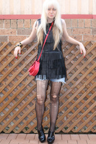 bardot dress - Sportsgirl purse - Lee shorts - levante tights - zu shoes