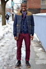 Black-leather-oliberte-boots-purple-banana-republic-shirt-gray-h-m-vest