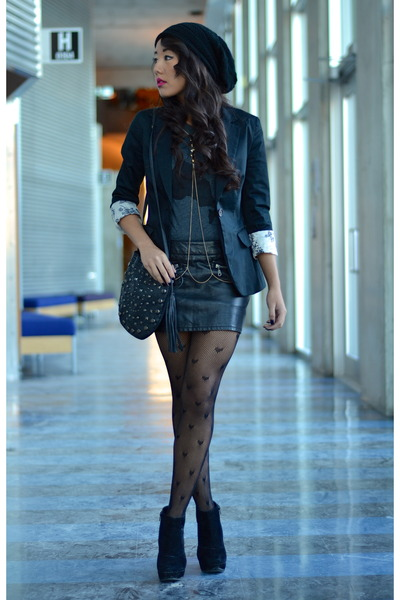 H&M blazer - pleather Forever21 skirt - cotton Tiebreak Tees t-shirt