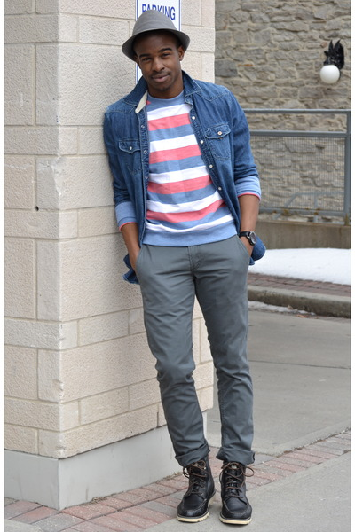 dark brown Oliberte boots - brick red striped Urban Outfitters sweater