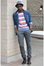 Dark-brown-oliberte-boots-brick-red-striped-urban-outfitters-sweater