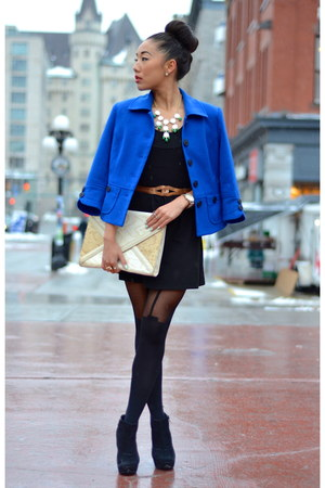 black Urban Outfitters dress - blue vintage blazer - navy vintage blazer