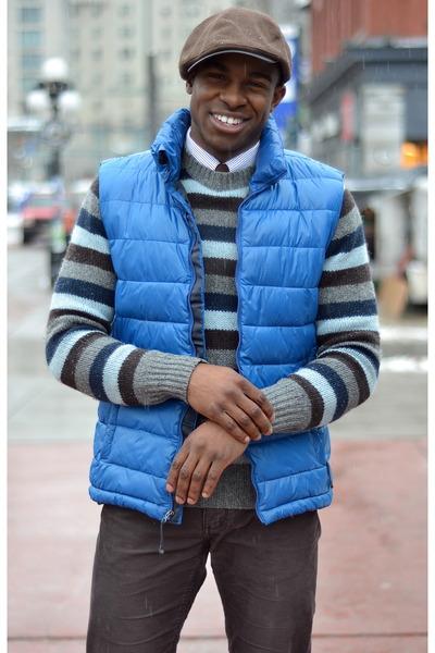 blue wool thrifted sweater - dark brown Big It Up hat