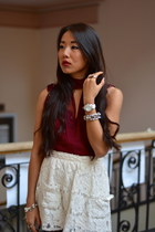 ivory lace Forever21 skirt - brick red lace le chateau blouse