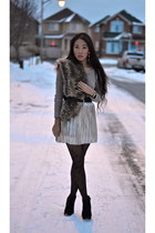gold Forever21 skirt - tan cable knit le chateau sweater