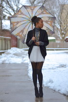 white tulle Zara skirt - charcoal gray turtleneck danier sweater