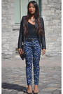 Black-quilted-leather-le-chateau-jacket-navy-leopard-print-gap-pants