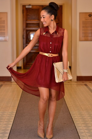 crimson chiffon Urban Behaviour dress - tan vintage bag - gold vintage belt