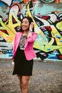 Hot-pink-material-girl-blazer-black-h-m-dress-navy-gingham-indochino-shirt