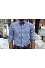 Navy-gingham-indochino-shirt-dark-brown-loafers-vintage-shoes