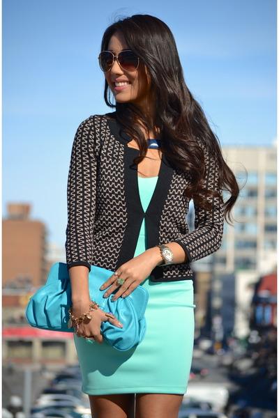 dark brown le chateau cardigan - aquamarine Zara dress - sky blue purse