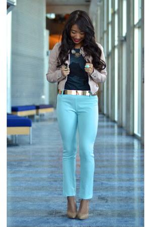gray cotton Tiebreak Tees t-shirt - light pink pleather Charlotte Russe jacket