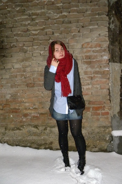 red Zara scarf - blue Zara shirt - blue Tally Weijl skirt - black Dr Martens boo