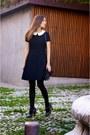 Charcoal-gray-comptoir-des-cotonniers-shoes-black-max-co-dress