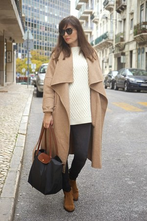 camel Massimo Dutti boots - camel Zara coat - charcoal gray longchamp bag