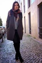charcoal gray Bimba & Lola coat - black Zara boots - ruby red Zara scarf