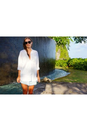 ivory Zara shirt - light blue Zara shorts - dark brown Karen Walker sunglasses