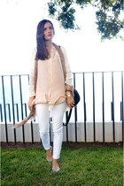white Mango jeans - peach Massimo Dutti scarf - black HAUTE & REBELLIOUS bag