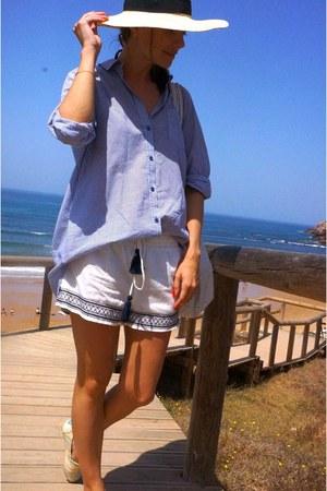 sky blue H&M shirt - eggshell H&M hat - ivory Oysho shorts - eggshell Paez flats