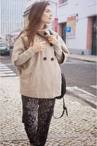 beige Gérard darel coat - black Uterque bag - navy bcbg max azria pants