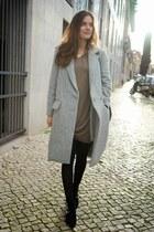 black Uterque boots - camel Zara dress - silver Uterque coat - black Uterque bag