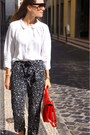 Red-bimba-lola-bag-white-bimba-lola-blouse-black-mango-pants