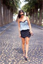 light blue Zara top - periwinkle Massimo Dutti bag - black Zara shorts