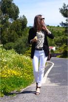 white Zara jeans - black Massimo Dutti blazer - dark khaki Zara blouse