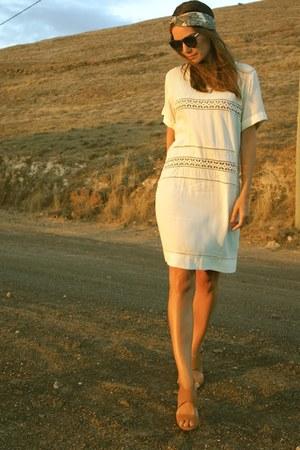 ivory Magali Pascal dress - brown Karen Walker sunglasses