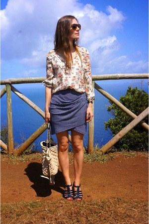 navy bcbg max azria skirt - neutral Massimo Dutti shirt
